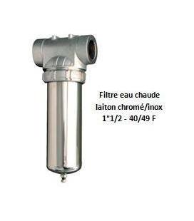 """Porte-filtre à eau chaude chrome/inox - 9"""" - 40/49"""
