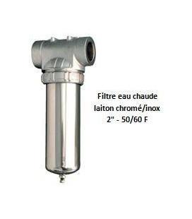 """Porte-filtre à eau chaude chrome/inox - 9"""" - 50/60"""
