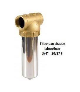 """Porte-filtre à eau chaude laiton/inox - 9"""" - 20/27"""