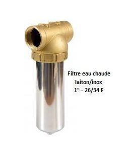 """Porte-filtre à eau chaude laiton/inox - 9"""" - 26/34"""
