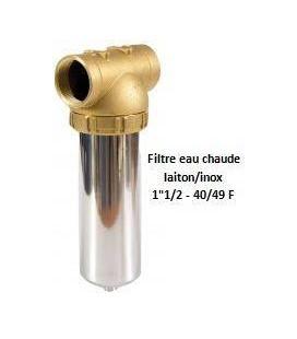 """Porte-filtre à eau chaude laiton/inox - 9"""" - 40/49"""