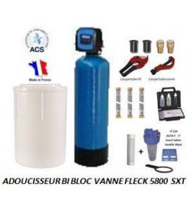 Adoucisseur d'eau bi bloc 75L fleck 5800 SXT complet