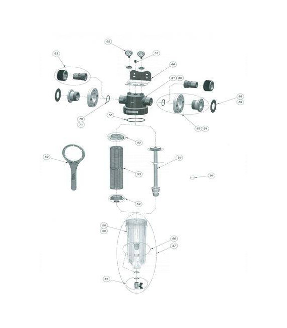 Cloche + adaptateur + vanne NW500/650/800