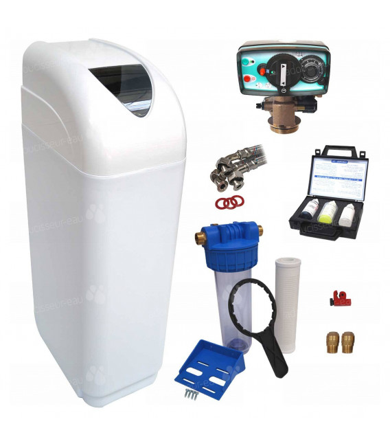 Adoucisseur d'eau 4L Fleck 4600 MV eau chaude complet avec accessoires