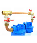 """Double porte filtre à eau 9""""3/4 - 26/34F  avec cartouche 20µm + Polyphosphate + by-pass"""