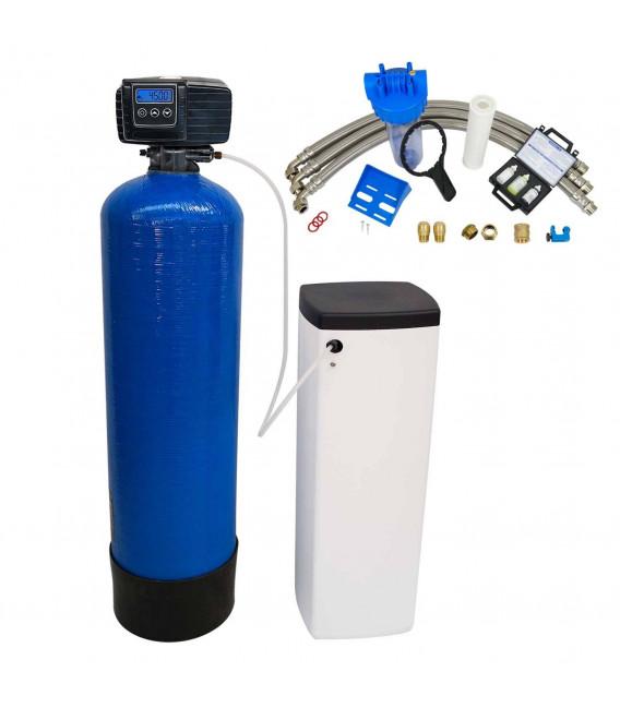 Adoucisseur d'eau bi bloc 16L vanne Fleck 5600 SXT complet avec accessoires