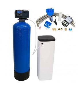 Adoucisseur d'eau bi bloc 25L vanne Fleck 5600 SXT complet avec accessoires
