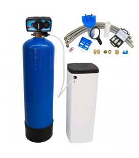 Adoucisseur d'eau bi bloc 25L vanne Fleck 4600 mecanique chronometrique eau chaude complet avec accessoires