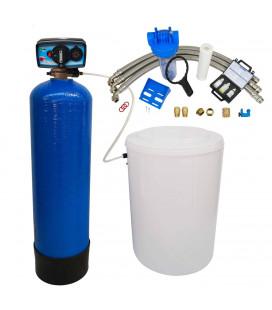 Adoucisseur d'eau bi bloc 50L vanne Fleck 4600 mecanique chronometrique eau chaude complet avec accessoires