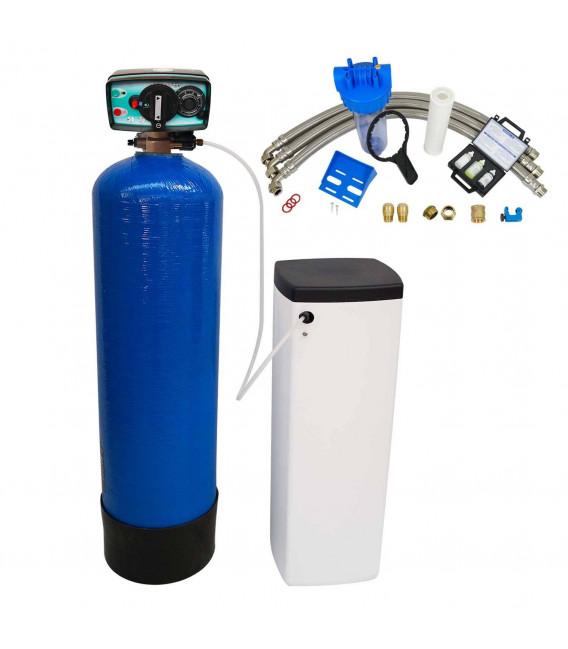 Adoucisseur d'eau bi bloc 20L vanne Fleck 4600 mecanique volumetrique eau chaude complet avec accessoires