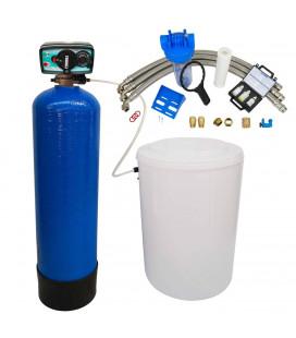 Adoucisseur d'eau bi bloc 75L vanne Fleck 4600 mecanique volumetrique eau chaude complet avec accessoires