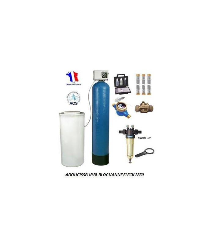 adoucisseur d 39 eau bi bloc 100l fleck 2850 complet adoucisseur eau. Black Bedroom Furniture Sets. Home Design Ideas