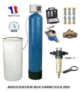 Adoucisseur d'eau bi bloc 350L fleck 2850 complet