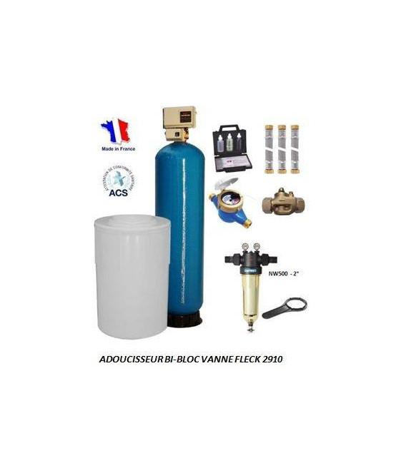 Adoucisseur d'eau bi bloc 350L fleck 2910 complet