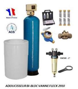 Adoucisseur d'eau bi bloc 475L fleck 2910 complet