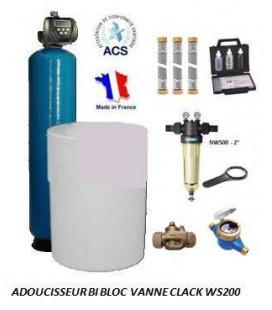 Adoucisseur d'eau bi bloc 350L Clack WS200 complet